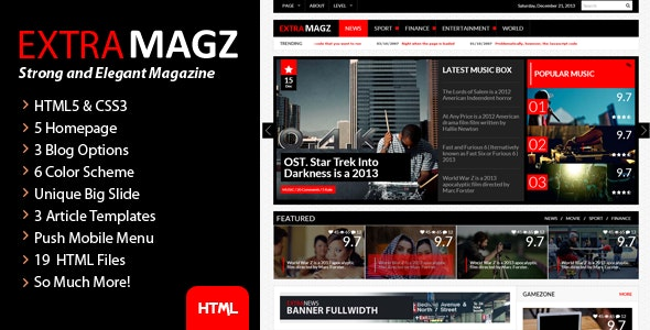 ExtraNews - Strong and Elegant  Magazine/Blog/News - Miscellaneous Site Templates
