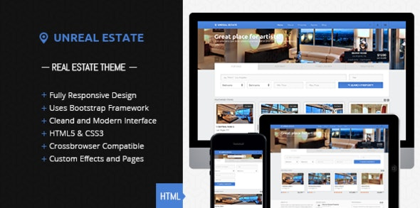 Unreal Estate - Responsive Real Estate template - Business Corporate