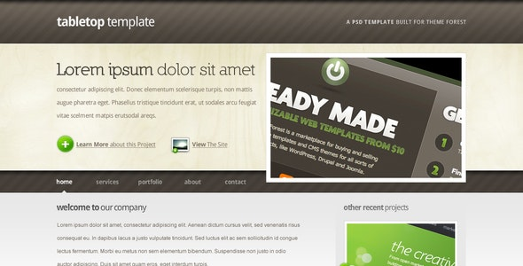 Tabletop HTML Template - 5 Pages, 5 Colors - Portfolio Creative