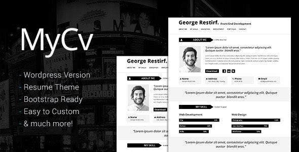My Cv - Responsive And Retina WordPress theme / CV - Personal Blog / Magazine