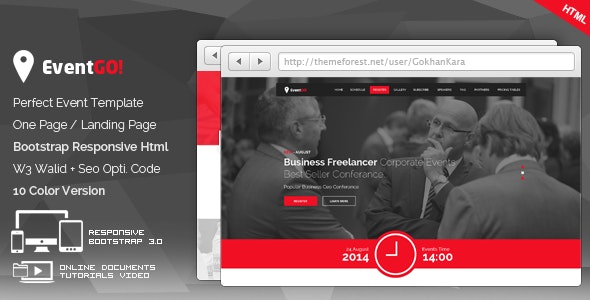 EventGo - Html Onepage Events Landing Page - Events Entertainment