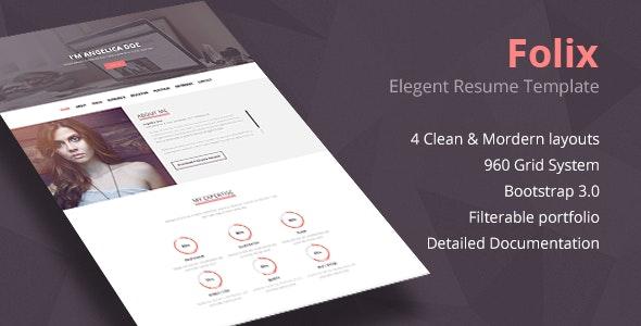 Folix - Responsive Resume, Personal Portfolio Temp - Resume / CV Specialty Pages