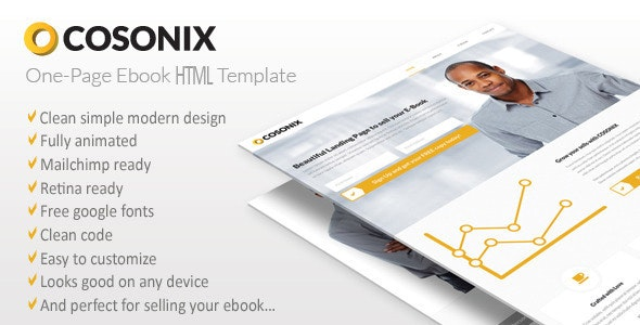 Cosonix One-Page HTML5 eBook Template - Marketing Corporate