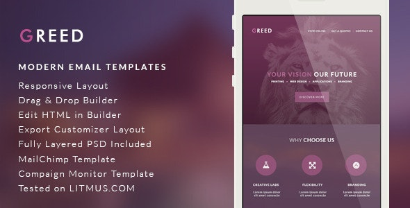 Modern Email Template - Greed + Builder Access - Email Templates Marketing