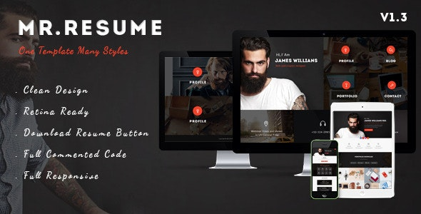 Mr.Resume - One Page Resume/Personal HTML Template - Resume / CV Specialty Pages