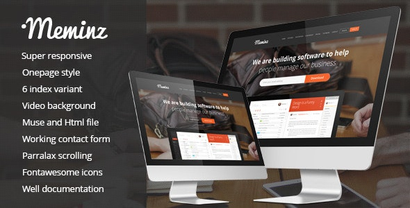 Meminz Download Software Landing Page Muse Template - Landing Muse Templates