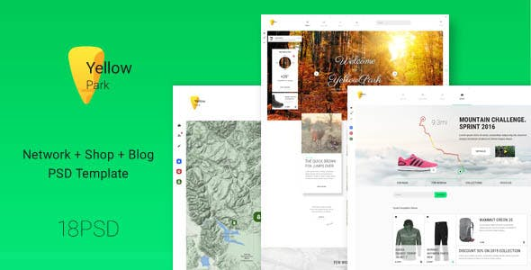 YellowPark - social network, shop and blog PSD template
