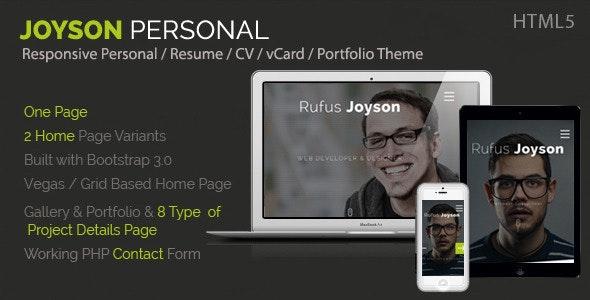 Joyson Personal - Resume / CV Vcard Portfolio HTML - Virtual Business Card Personal