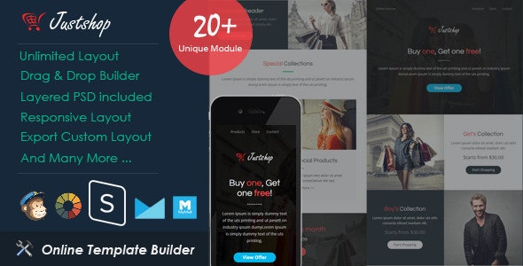 JustShop - Ecommerce Email + Drag & Drop Builder - Email Templates Marketing