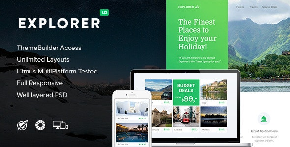 Explorer - Responsive Email + Themebuilder Access - Newsletters Email Templates