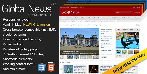 Global News Portal - HTML5 & CSS3 Template - Corporate Site Templates