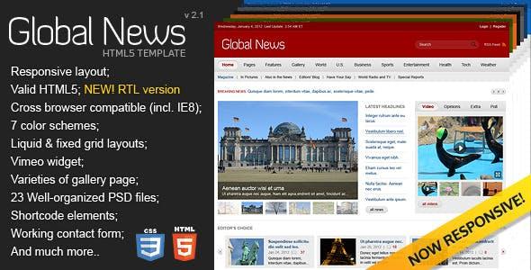 Global News Portal - HTML5 & CSS3 Template