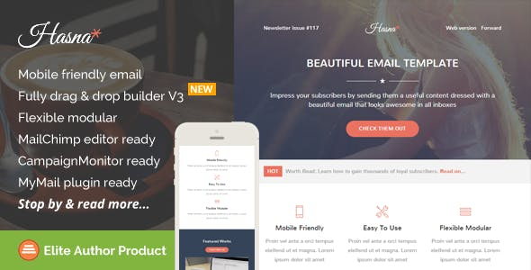 Hasna, Beautiful Email Template + Builder Access