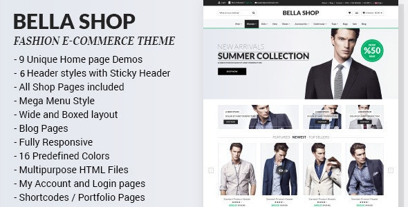 Bella - eCommerce HTML Shop with RTL - Shopping Retail