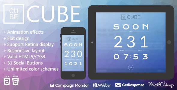 Cube - Animation Responsive Coming Soon Page  - Under Construction Specialty Pages