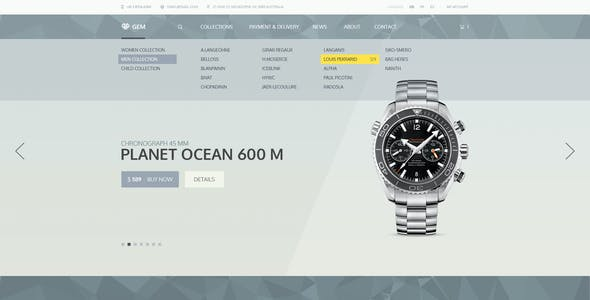 Gem — Luxury E-Commerce PSD theme