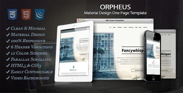 Orpheus - Material Design One Page Template - Portfolio Creative