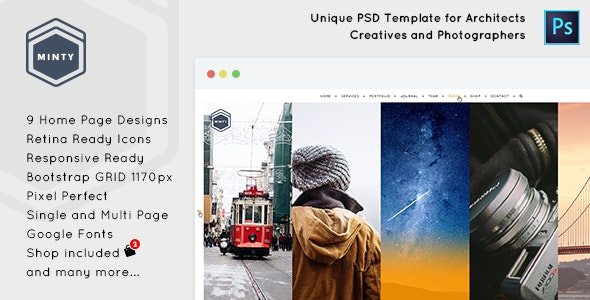 Minty - Agency and Architect PSD Template - Creative Photoshop