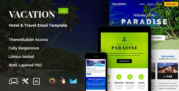 Vacation - Hotel/Travel Newsletter + Builder Access - Email Templates Marketing