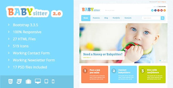 Babysitter - Responsive HTML Template