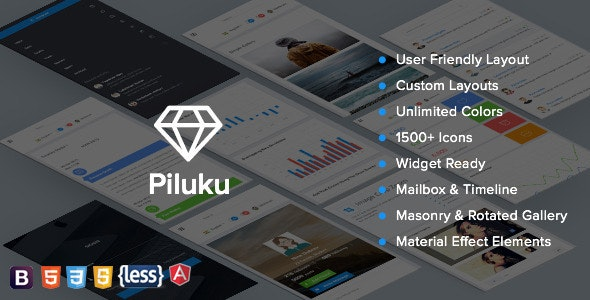 Piluku - Bootstrap Admin +  AngularJS Admin Template - Admin Templates Site Templates