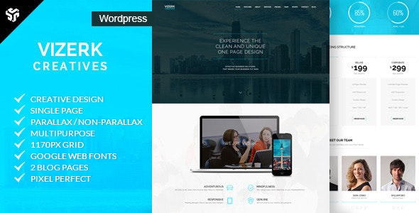 Vizerk - One Page Parallax WordPress Theme - Portfolio Creative