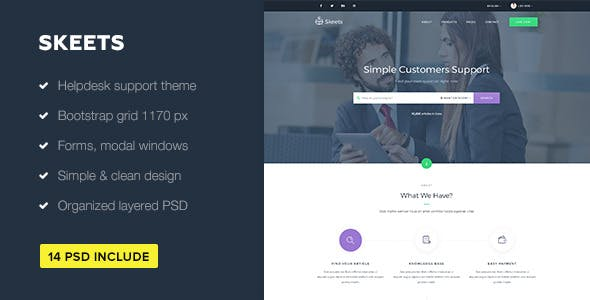 Skeets — Helpdesk and Knowledge Base PSD Template
