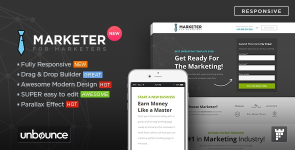 Marketer - Premium Marketing Unbounce Template - Unbounce Landing Pages Marketing