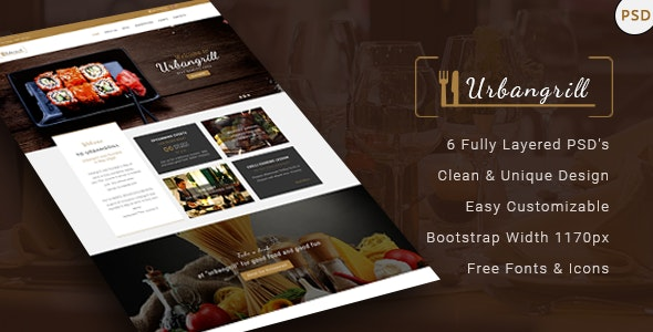 Urbangrill - Restaurant PSD Template - Restaurants & Cafes Entertainment