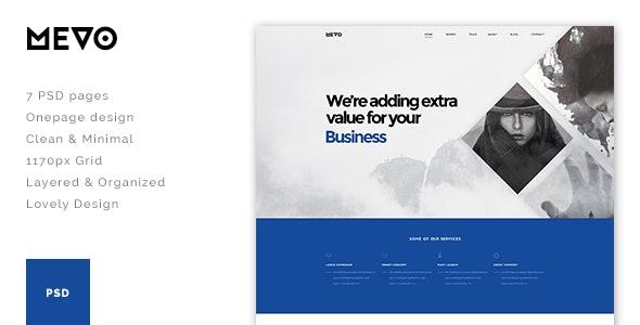 Mevo - One Page PSD Theme - Photoshop UI Templates