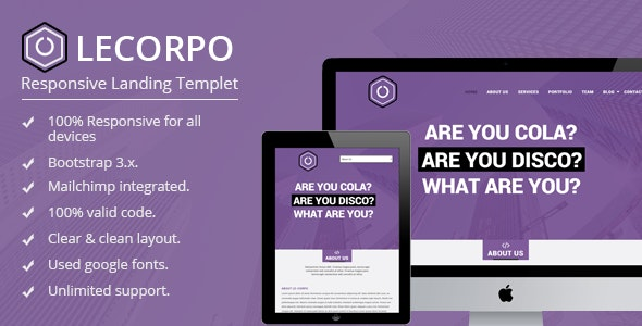 LeCorpo ||  HTML 5, Bootstrap Landing Page - Landing Pages Marketing
