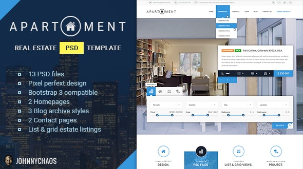 Apartment - Premium Real Estate PSD Template - Business Corporate