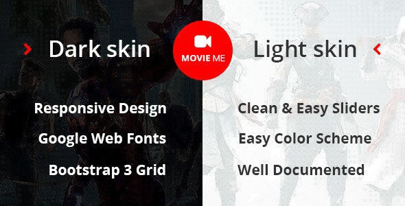 Movie Me - Cinema/Movie Bootstrap 3 HTML Template - Film & TV Entertainment