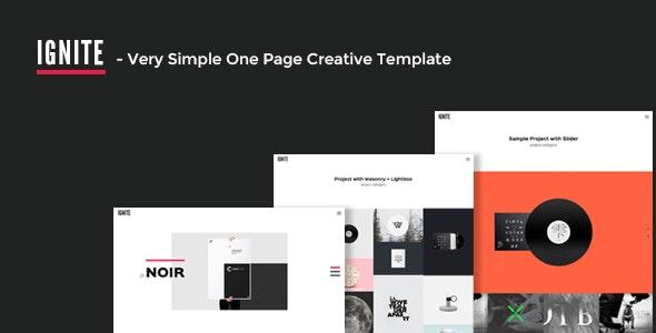 IGNITE - Very Simple One Page Creative Template - Portfolio Creative