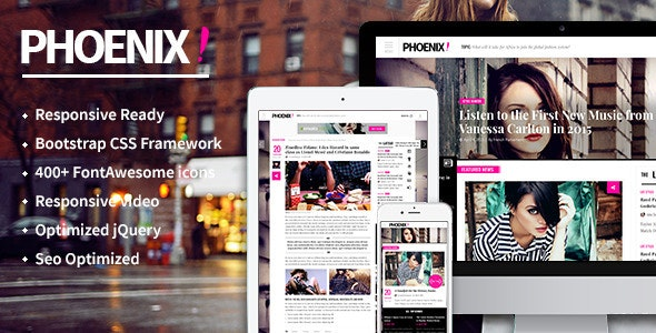 Phoenix HTML5 magazine template - Corporate Site Templates