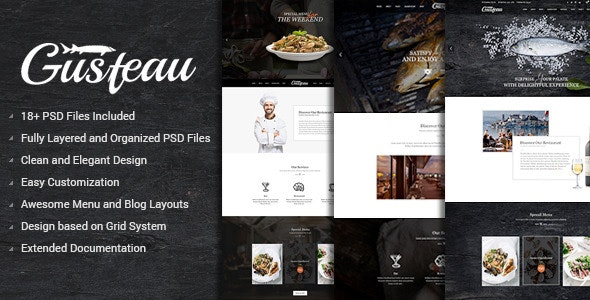 Gusteau – Elegant Food and Restaurant PSD Template - Restaurants & Cafes Entertainment