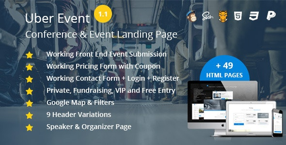 Uber Event - HTML Conference & Event Landing Page by
