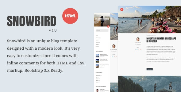 Snowbird Personal Blog HTML Template - Personal Site Templates