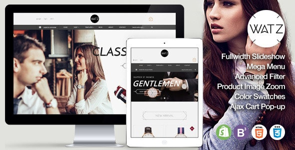 Watch Store Responsive Shopify Theme - WATZ - Entertainment Shopify