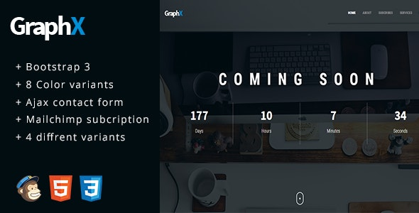 GraphX - Responsive Coming Soon Page Template - Specialty Pages Site Templates
