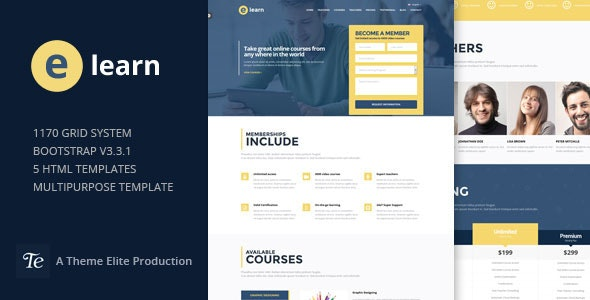 e-Learn - Onepage Bootstrap Education HTML - Corporate Site Templates