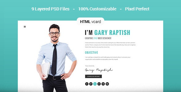 Raptish - Premium vCard/Resume HTML Template - Virtual Business Card Personal