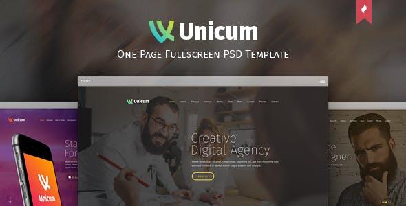 Unicum - One Page Fullscreen PSD Template