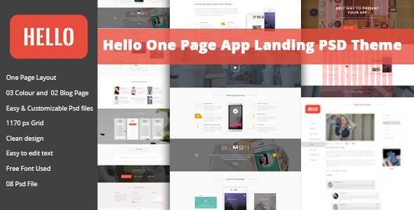 Hello - One Page App Landing PSD - Technology Photoshop