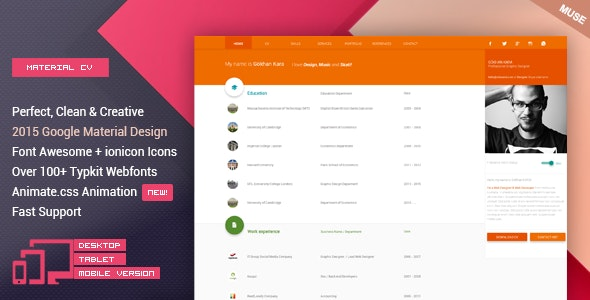 Material CV -  Material Personal CV Muse Theme - Personal Muse Templates