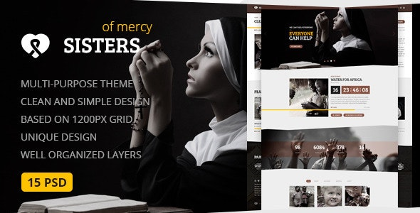Sisters of Mercy — Nonprofit, Charity & Church PSD Template - Churches Nonprofit