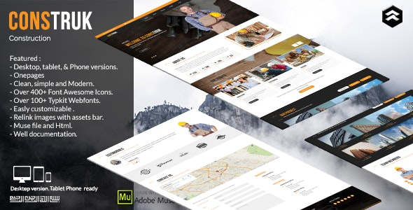 Construk - Construction Business Muse Template - Corporate Muse Templates