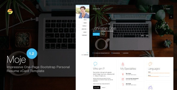 Moje. - Responsive Bootstrap Personal Resume vCard HTML/CSS Theme - Personal Site Templates