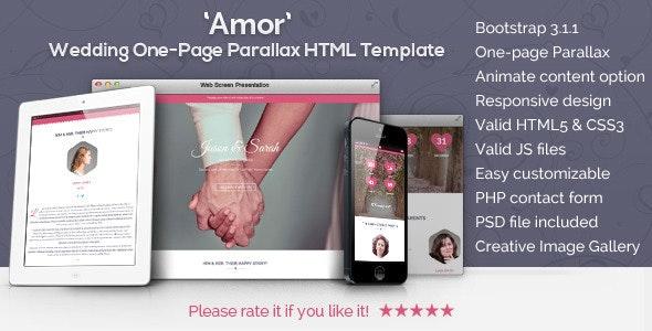 Amor Parallax Animated Wedding HTML Template