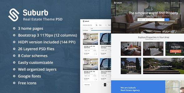 Suburb - Real Estate PSD theme - Business Corporate